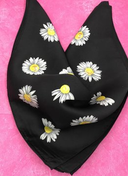 Black and Daisy Square Silk Scarf