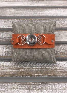 Snap Orange Leather Bracelet