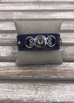 Snap Blue Leather Bracelet
