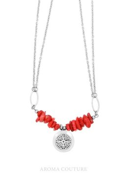 Aroma Couture Adelle Red Jase Diffuser Necklace 16