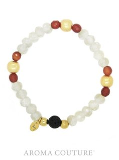 Citrine Quartz and Baltic Amber Lava Rock Diffuser Bracelet