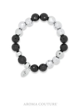 Aroma Couture Onyx and Hematite Lava Rock Diffuser Bracelet
