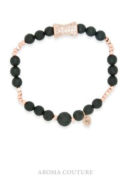 Aroma Couture Rose Gold and Matte Onyx Lava Rock Diffuser Bracelet