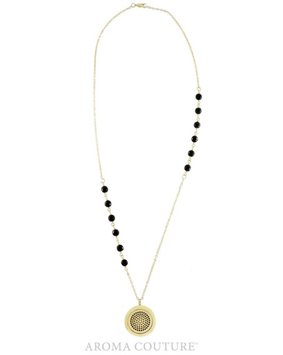 Aroma Couture Teresa Black Onyx Diffuser Gold Necklace