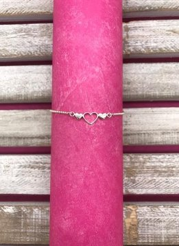 Qualita in Argento Sterling Silver Hearts Anklet