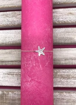 Stylish Sterling Silver Starfish Anklet