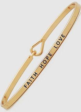 Faith Hope Love Rose Gold Bangle