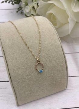 Sloane Turquoise Gemstone Circle Necklace 14k Gold