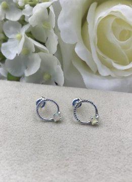 Sloane Sterling Silver Opal Circle Stud Earrings