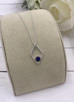 Sloane Sterling Silver Diamond Sunburst Lapis Lazuli Necklace