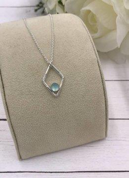 Sloane Sterling Silver Diamond Sunburst Aqua Chalcedony Necklace