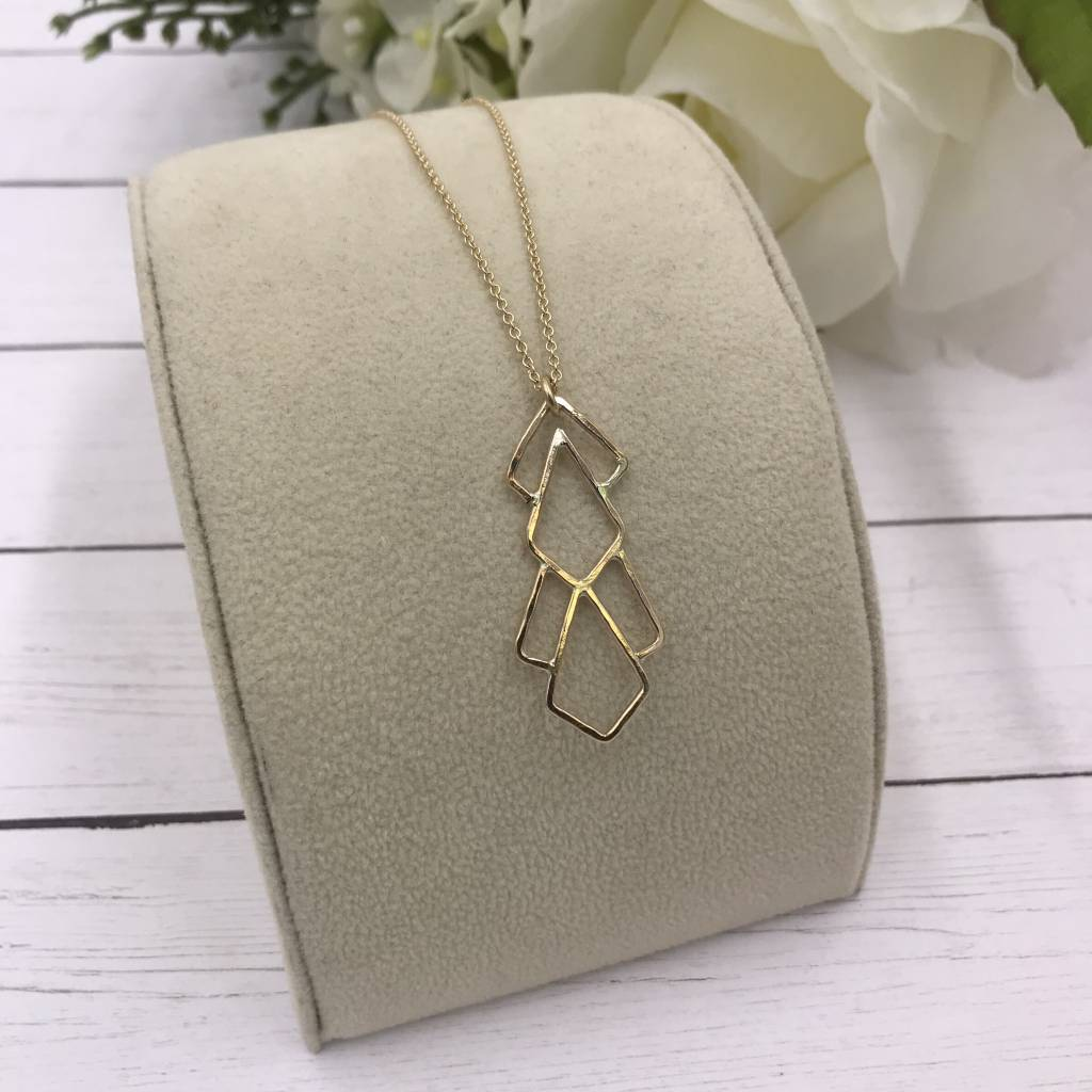 14k Gold Filled Deco Pattern Long Necklace