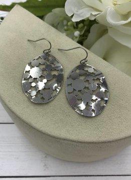 Silver Oval Bubbles Filigree Earrings