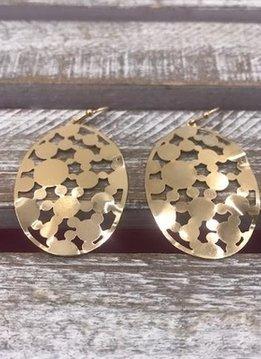 Gold Oval Filigree Bubbles Earrings