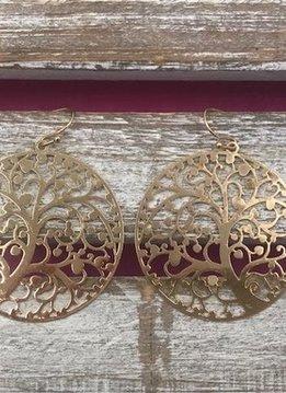 Gold Filigree Swirly Tree Earrings