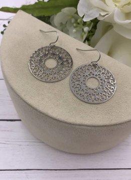 Silver Filigree Round Earrings