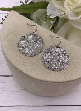 Silver Filigree Clover Earrings