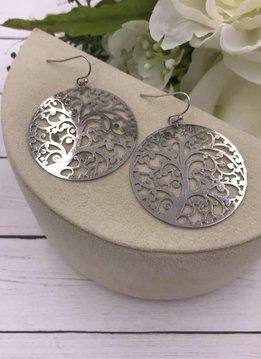 Silver Swirly Filigree Tree Earrings