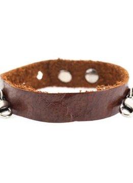Lenny & Eva Dark Chestnut Leather Cuff Bracelet with Silver Finish