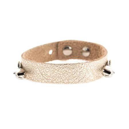 Lenny & Eva Champagne Leather Cuff Bracelet with Silver Finish