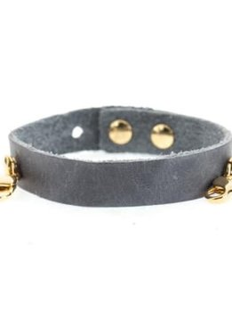 Lenny &Eva Dove Gray Leather Cuff Bracelet with Gold Finish