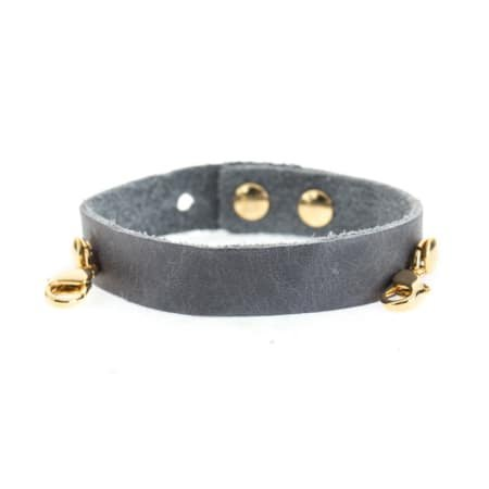 Lenny & Eva Dove Gray Leather Cuff Bracelet with Gold Finish