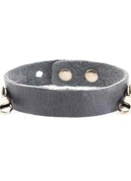 Lenny & Eva Dove Gray Leather Cuff Bracelet with Silver Finish
