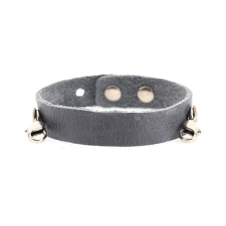 Lenny & Eva Dove Gray Leather Cuff Bracelet with Silver Finish