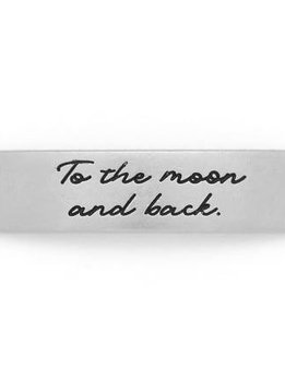Lenny & Eva Silver Engraved To The Moon & Back Sentiment