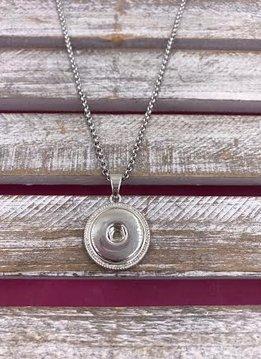 Silver Snap Necklace with Stainless Steel Chain
