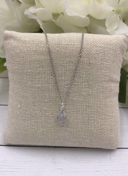 Sterling Silver Dainty Necklace with Teardrop Moonstone Gem
