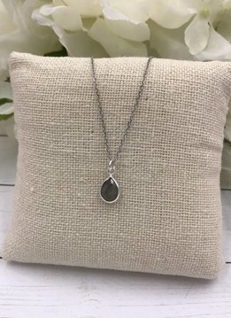 Sterling Silver Dainty Necklace with Teardrop Labradorite Gem