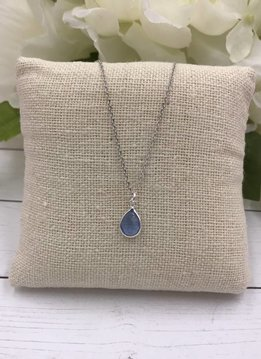 Sterling Silver Dainty Necklace with Teardrop Blue Topaz Gem