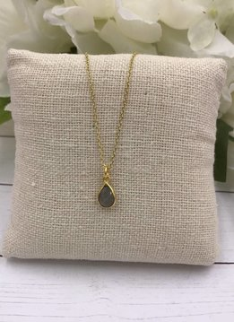 Sterling Silver Gold Plated Dainty Necklace with Teardrop Labradorite Gem