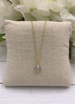 Sterling Silver Gold Plated Dainty Necklace with Teardrop Moonstone Gem
