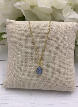 Sterling Silver Gold Plated Dainty Necklace with Teardrop Blue Topaz Gem