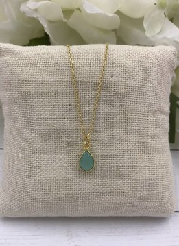 Sterling Silver Gold Plated Dainty Necklace with Teardrop Chalcedony Gem