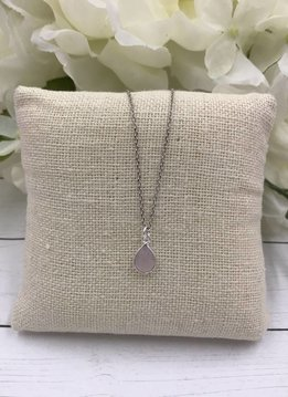 Sterling Silver Dainty Necklace with Teardrop Rose Quartz Gem