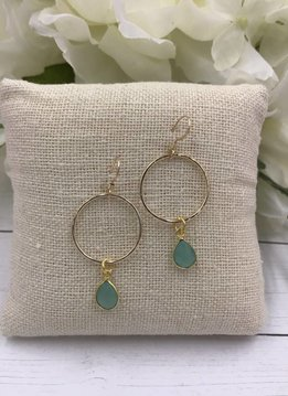 Sterling Silver Gold Plated Dangling Hoop Earrings with Chalcedony Gem