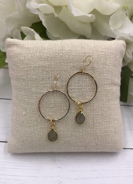 Sterling Silver Gold Plated Dangling Hoop Earrings with Labradorite Gem