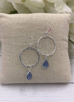 Sterling Silver Dangling Hoop Earrings with Blue Topaz Gem
