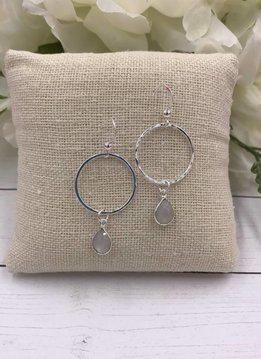 Sterling Silver Dangling Hoop Earrings with Moonstone Gem