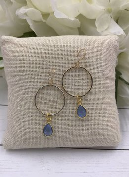 Sterling Silver Gold Plated Dangling Hoop Earrings with Blue Topaz Gem