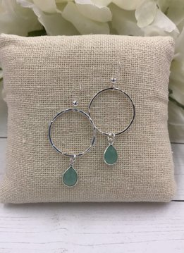Sterling Silver Dangling Hoop Earrings with Chalcedony Gem