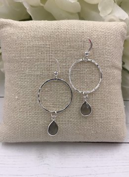Sterling Silver Dangling Hoop Earrings with Labradorite Gem