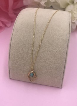 14k Gold Filled Turquoise Hamsa Necklace