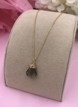 14k Gold Filled Black Diamond Baroque Necklace