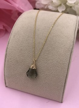Less is More 14k Gold Filled Black Diamond Baroque Necklace