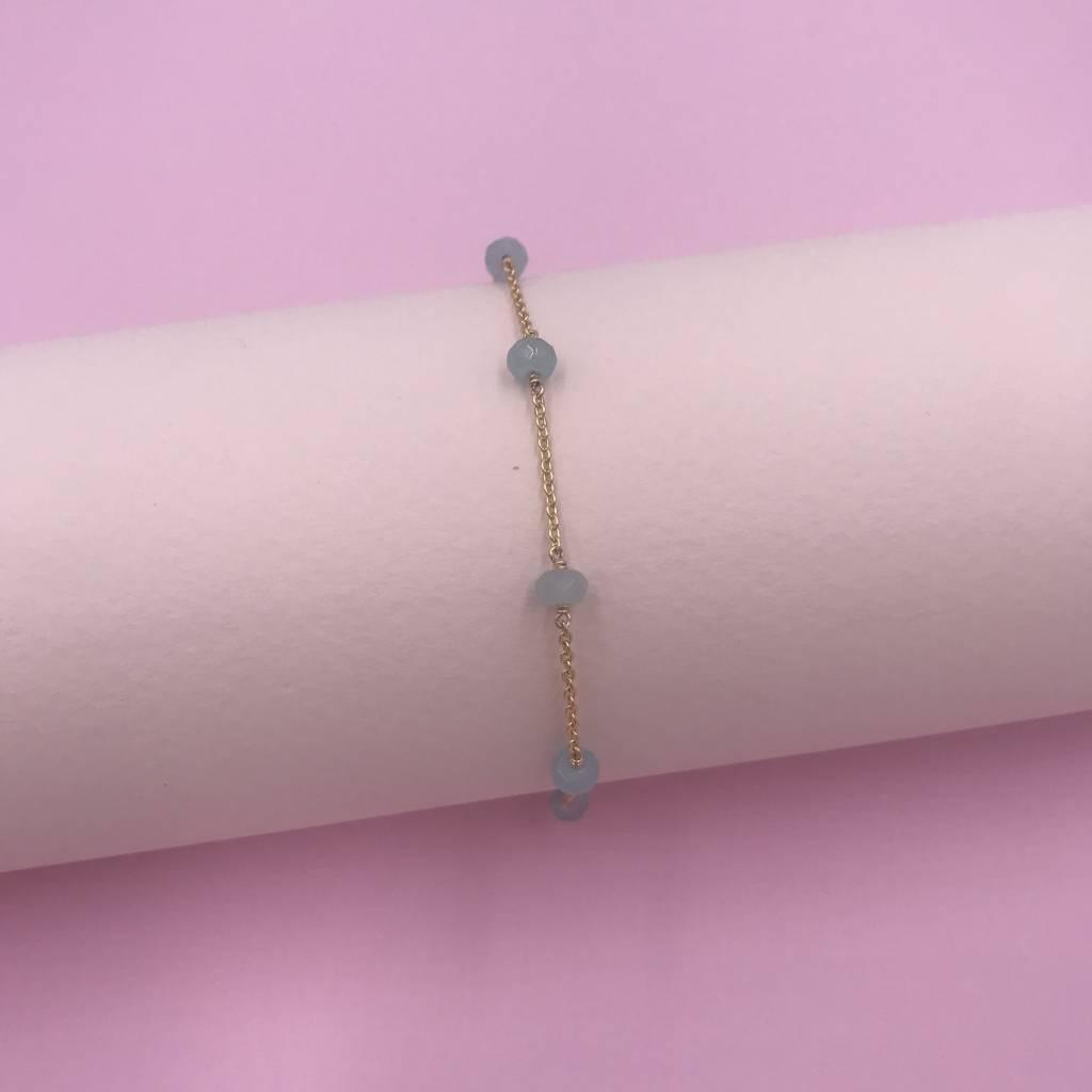 14k Gold Filled Mint Jade Unity Bracelet