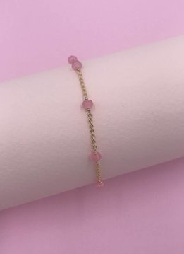 14k Gold Filled Pink Jade Unity Bracelet